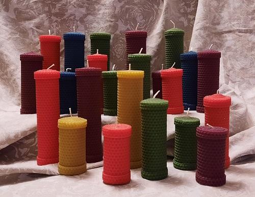 Bičių vaško spalvoti cilindarai